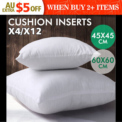 4/12 Cushion Pillow Inserts 45x45/60x60 cm White Outer Case Hypoallergenic Fibre