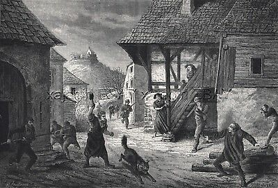 Wolf Hunting in France Alsatian Village, Large 1870s Antique Engraving Print