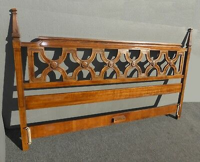 Vintage Mid Century Modern Style Solid Wood King Size Headboard w Finials