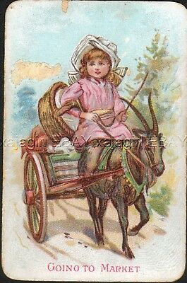 GOAT Cart & Girl, Victorian Playing Card- Swap Card!