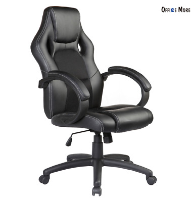 Executive Swivel Office Chair Race Car Style Bucket Seat High Back Black Leather