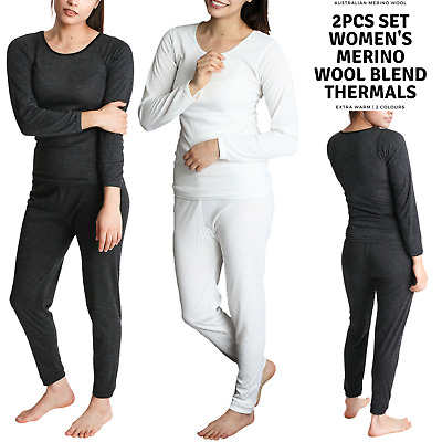2pcs Set Ladies Merino Wool Blend Underwear Pants & Top Thermal Thermals