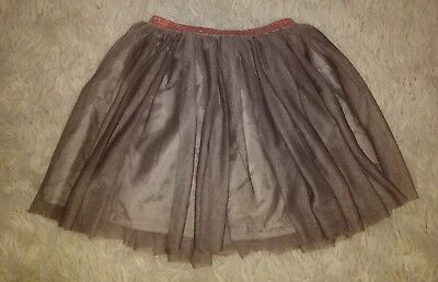 Zara Girls Brown Tulle Tutu Skirt With Rose Gold Sparkle Waist Band Size 13-14