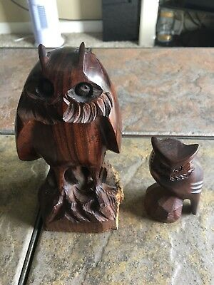 Lot of 2 Solid Ironwood Hand Carved Dark Wooden Owl Figurine Animal Sculpture