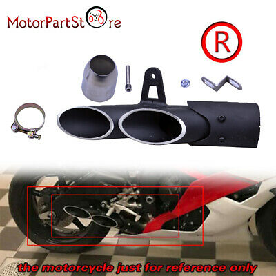 2 Hole Black Aluminum Motorcycle Exhaust Silencer Muffler Pipe 38-51mm Clamp