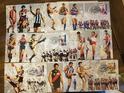 CENTENARY of AFL - 16x Pre-Paid Postcards - depicting all AFL Teams - All Blank