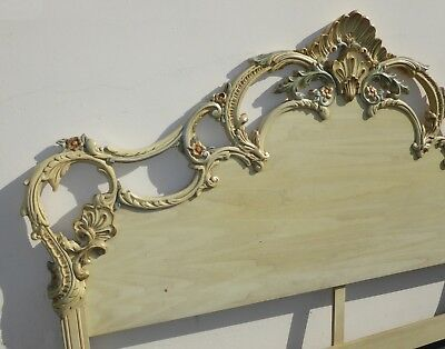 Vintage French Country Provincial Ornately Carved Wood Rococo King Headboard