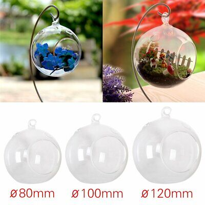 Hanging Glass Bauble Sphere Ball Candle Tea Light Holder Clear For Wedding Decor