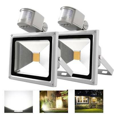 2Pcs IP65 50W Cool White LED PIR Motion Sensor FloodLight Outdoor security Lamp
