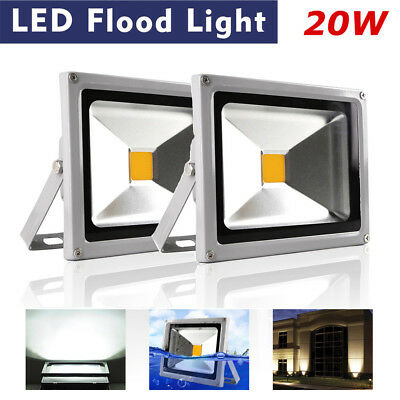 2x IP65 20W LED Floodlight Cold White lamp outdoor Led Reflector Spotlight Uk