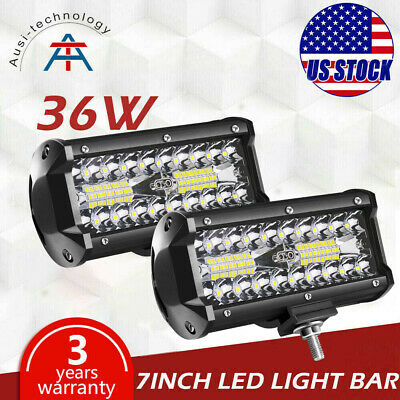 2x 7inch 36W Flood LED Work Light Bar Offroad ATV Driving Fog Lamp Truck 4WD 12V