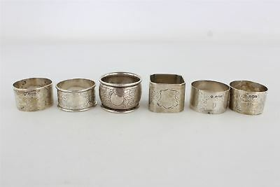 Lot of 6 x Vintage HALLMARKED STERLING SILVER Napkin Rings inc Floral etc 179g