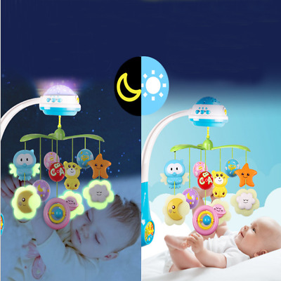 Baby Musical Crib Bed Cot Mobile Stars Dreams Light Flash Nusery Lullaby Toys