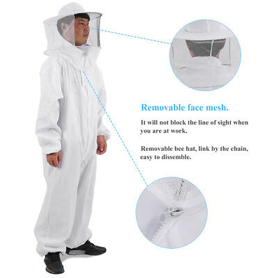 Professional Full Body Beekeeping Bee Keeping Suit with Veil Hood White L/XL/XXL
