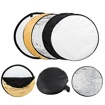 """5 in 1 24"""" Collapsible Round Multi Disc Light Photo Reflector Photography Studio"""