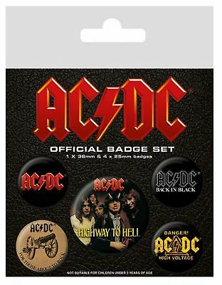 AC/DC Badge Pack classic Logo albums new Official 5 X button One Size