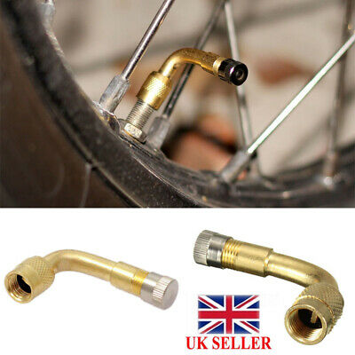 2 x90 Degree Angle Tyre Valve Tube Extension Adapter Motorcycle Motorbike Car UK