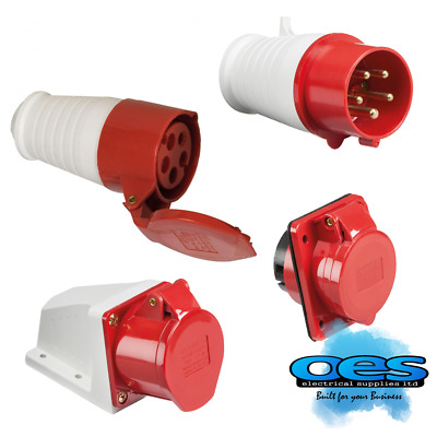 415V 16A 5 Pin Red Industrial Plugs & Sockets 3 Phase 3P=N+E Ip44 Male/female