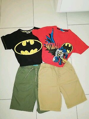 Kinder Sommer 4 er Set/Batman/Spiderman Jungs T-Shirts Kurze Hose Shorts/110-122