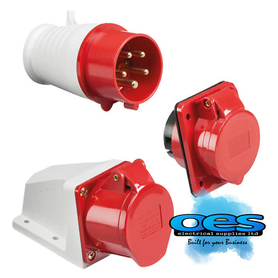 415V 32A 5 Pin Red Industrial Plugs & Sockets 3 Phase 3P+N+E Ip44 Male/Female
