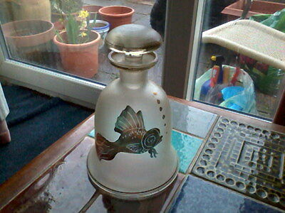 Frosted Glass Decanter with Gilded Fish and Stars