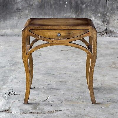 "New 23"" Mango Wood Aged Honey Stain Accent End Table One Drawer Vintage Shape"
