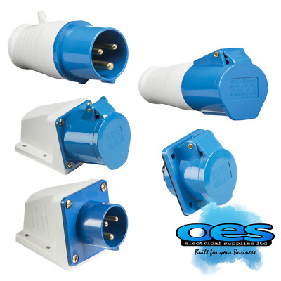 240V 32A 3 Pin Blue Site Industrial Plugs & Sockets  Male/female Ip44 2 P&earth