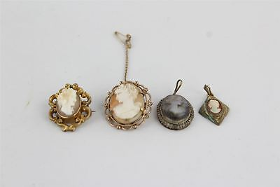Antique / Vintage 4 x Cameo Pendants & Brooches inc  Shell & Mother of Pearl 19g