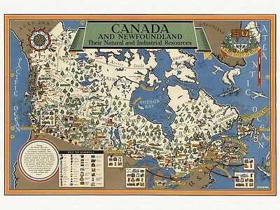 Old Decorative Pictorial Map of Canada and Newfoundland Gill ca. 1942