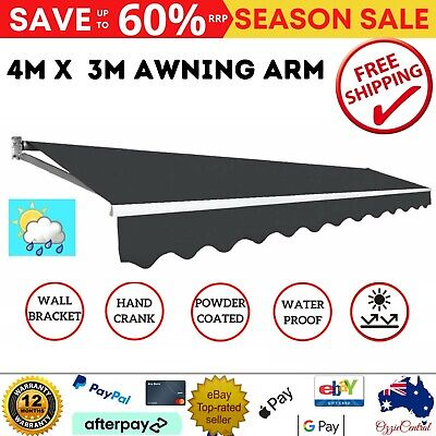 4m x 3m Outdoor Folding Arm Awning Retractable Sun Shade Sail Canopy Cover Grey