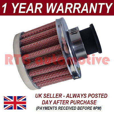 12mm AIR OIL CRANK CASE BREATHER FILTER FITS MOST CARS RED & CHROME ROUND