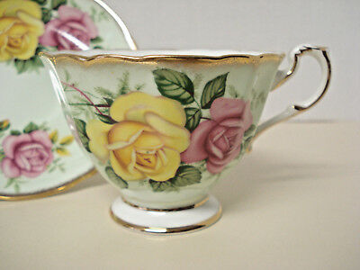 Paragon Tea Cup and Saucer Pale Green with Roses