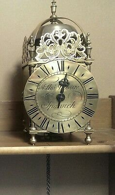 Very Large Brass Weight Driven Lantern Clock Signed Tho Moore Ipswich