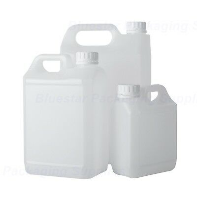 1L / 2.5L / 5L Litre Plastic Jerry Can Bottle Water Container With Tamper Caps