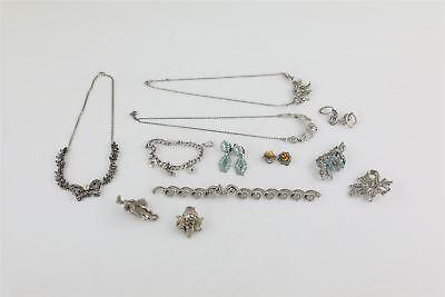 Lot of 12 x Vintage Marcasite Jewellery inc Necklaces , Brooches & Earrings 148g