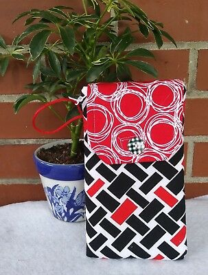 Free Shipping - Handmade Black/Red Abstract Print Cell Phone/Glasses  Case (422)