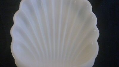 "Vintage Milk Glass 4 1/2""  Shell Scalloped White Soap Dish Nut Candy Tray"