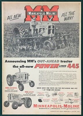 "1956 MINNEAPOLIS-MOLINE NEW POWERLINED 445 TRACTOR - Large Ad, 9-5/8"" X 13-3/4"""