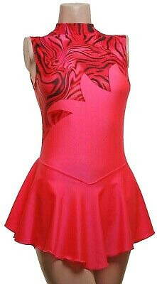 Skating Dress - CORAL LYCRA / BLACK MULTI PINK HOLOGRAM- ALL SIZES AVAILABLE