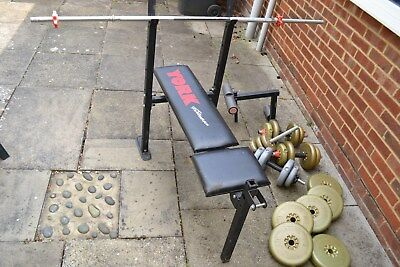 York fitness bench and various weights