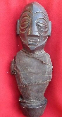 Vintage Chokwe Tribe Wrapped Fetish Power Figure With Medicine Bag