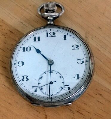 Antique Silver 1917 London Pocket Watch Marked G S Spares or Repair