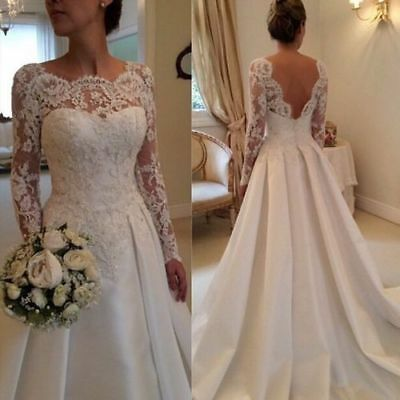 2018 New White/ivory Wedding dress Bridal Gown custom size 6-8-10-12-14-16-18