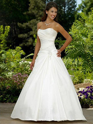 Hot New White Ivory Taffeta Wedding Dress Bridal Gown Size:6 8 10 12 14 16 18