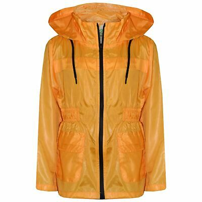 Girls Boys Raincoats Jackets Kids Mustard Light Weight Hooded Cagoules Rain Mac