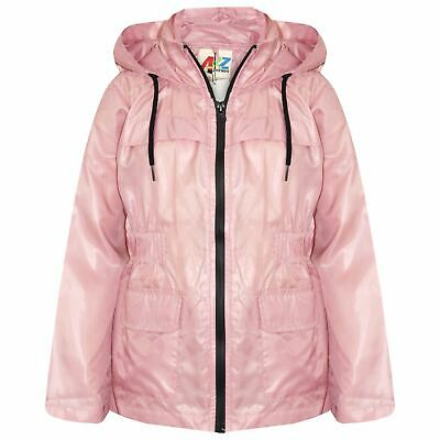 Girls Boys Raincoats Jackets Kids Baby Pink Lightweight Hooded Cagoule Rain Mac