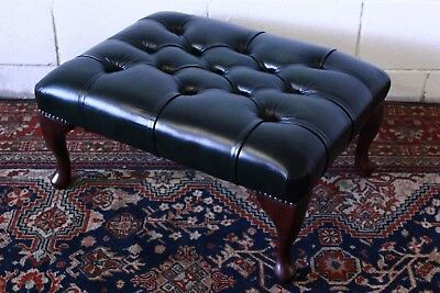 Pouf / puff chesterfield chester originale inglese in pelle verde England