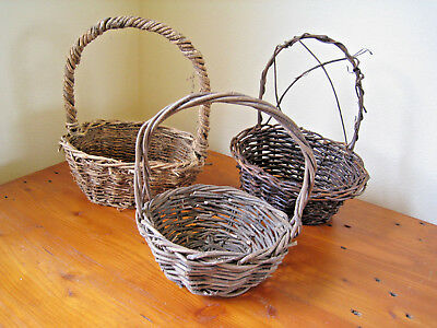 Vintage Rustic Wood Woven Classic Carry And Gather Style 3 Basket Set