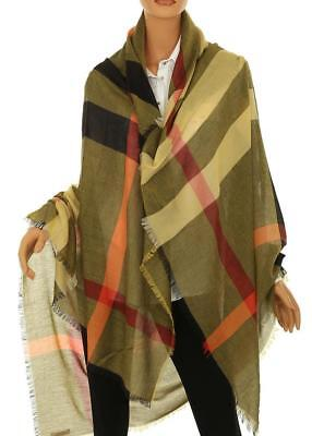 New Burberry Relaxed Mega Check Amber Yellow Modal Wool Scarf Wrap Shawl