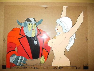 Taarna on rack and Barbarian Chieftain cels from 1981 Heavy Metal movie.
